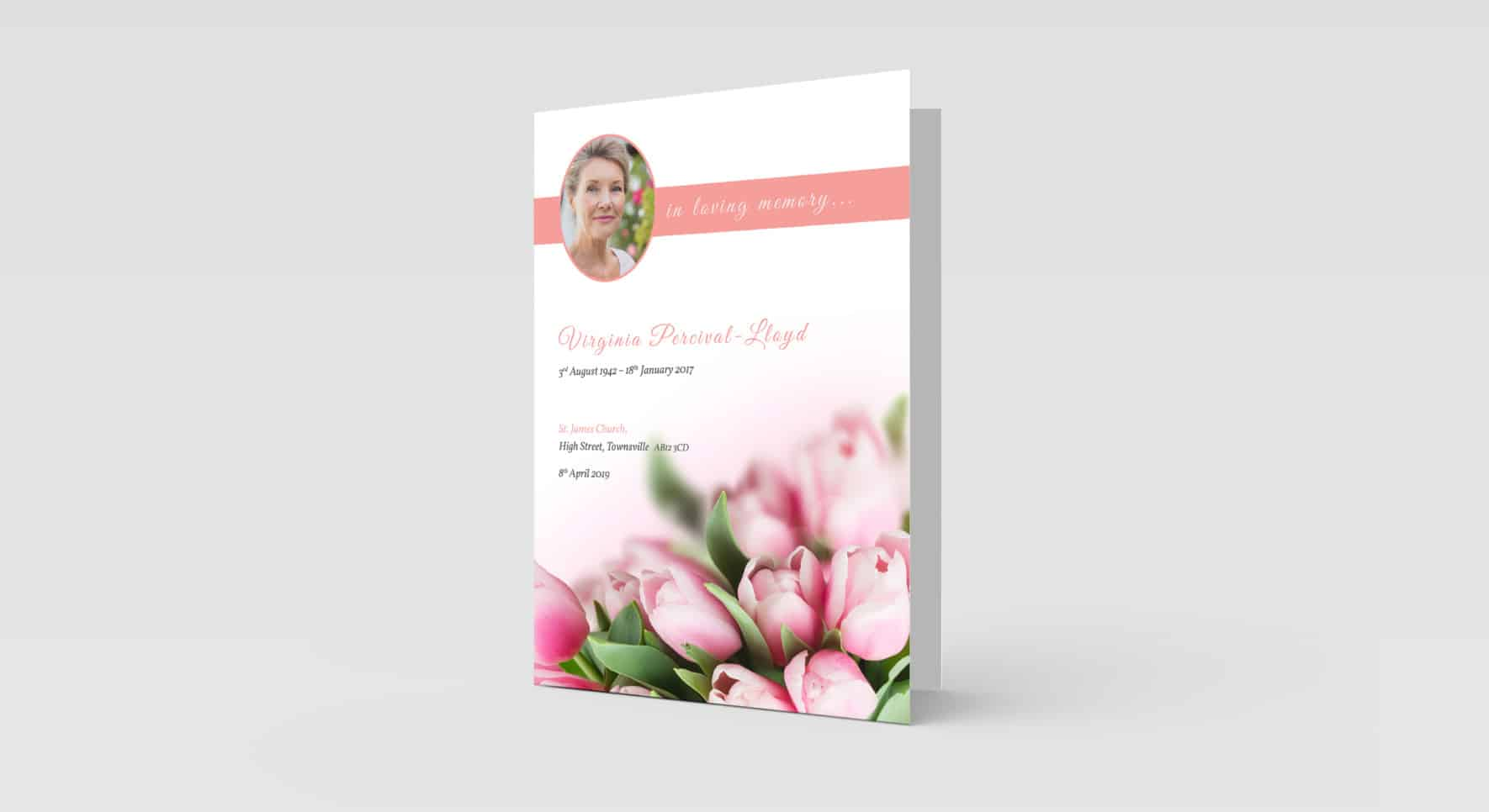Pink Flowers with Oval Photo