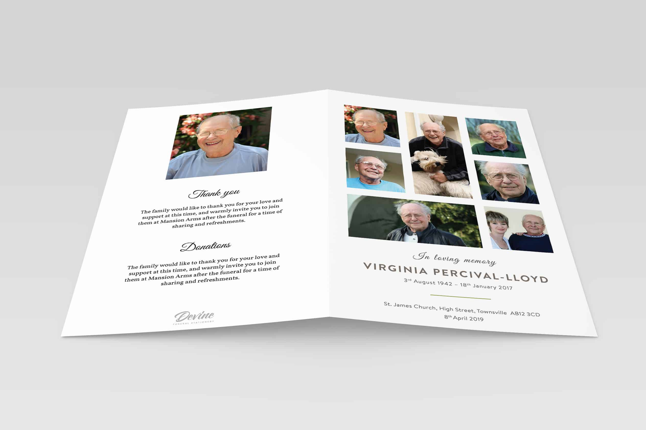 7 Photo Collage - Devine Funeral Stationery