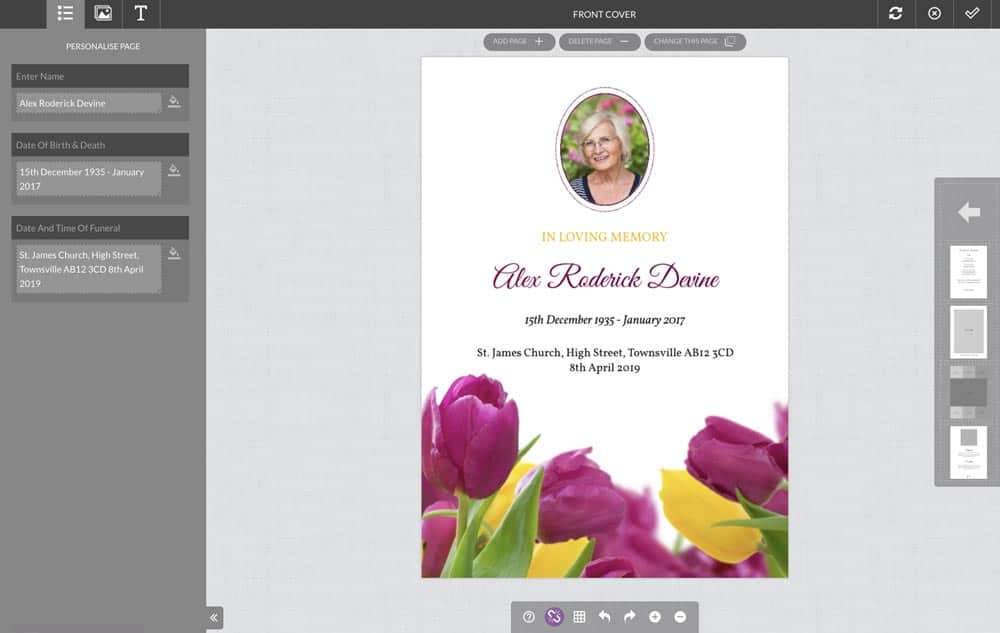 funeral order of service template editor