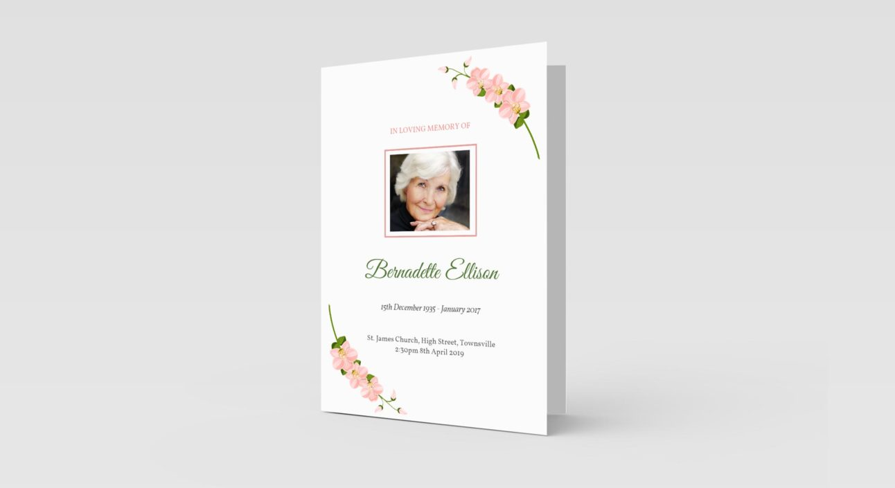 Pink Orchid Flowers - Funeral Order of Service