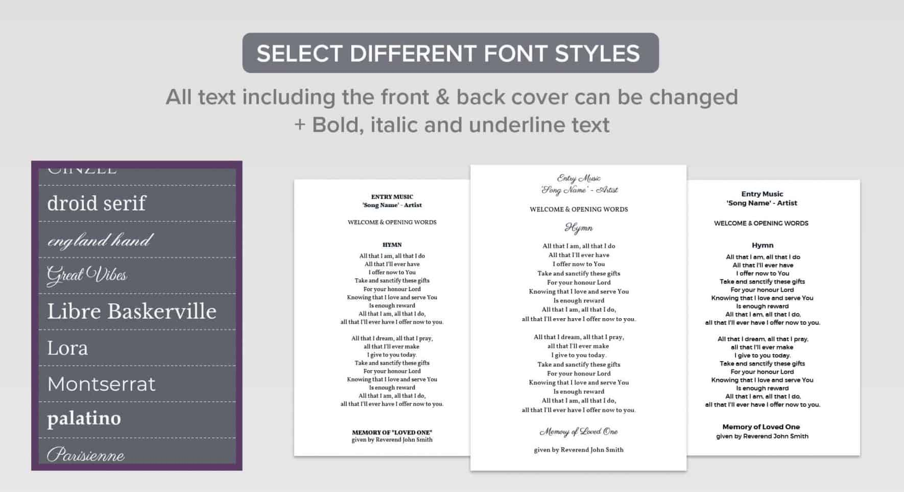 funeral order of service font selection
