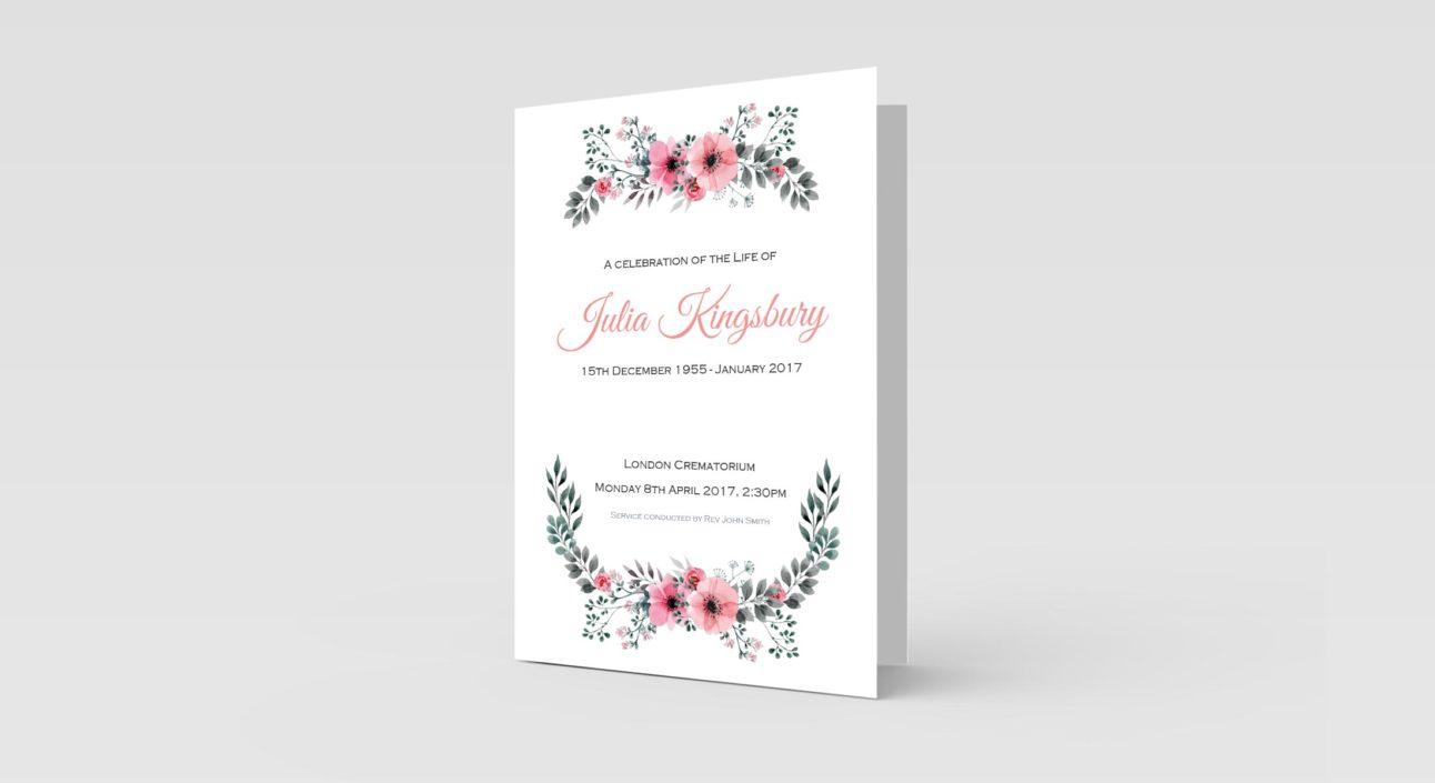 funeral order of service Floral Watercolour Border