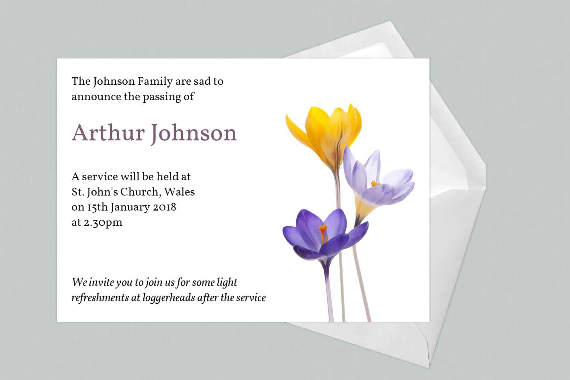 Funeral Announcement Card Crocus Flower Style 2