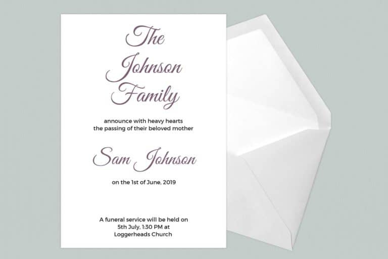 Funeral Announcement Cards-Design 5 - Landscape