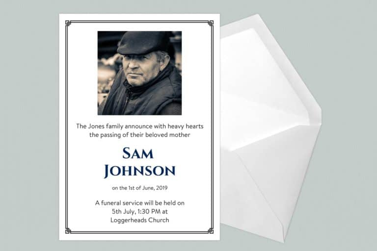 Funeral Announcement Cards-Design 6 - Landscape