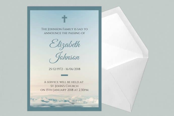 Funeral Announcement Cards-High Clouds