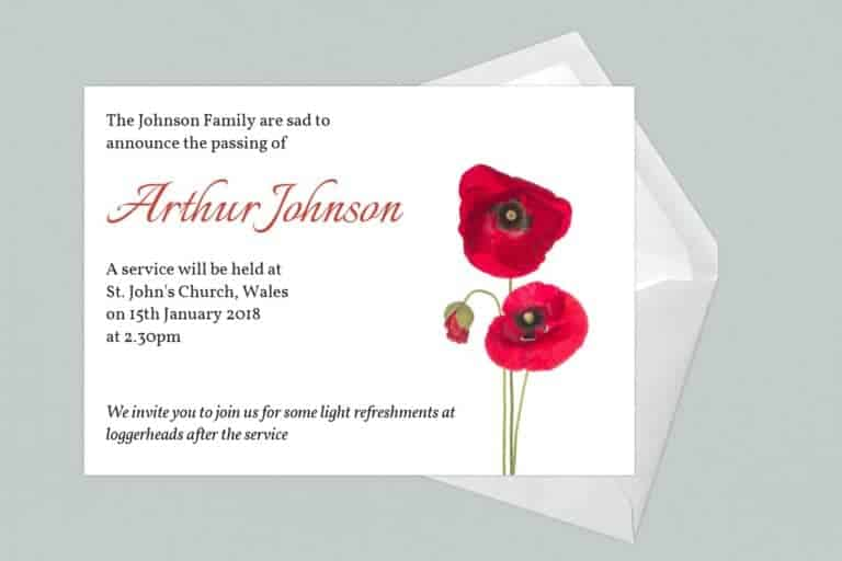 Funeral Announcement Cards-Poppy 1