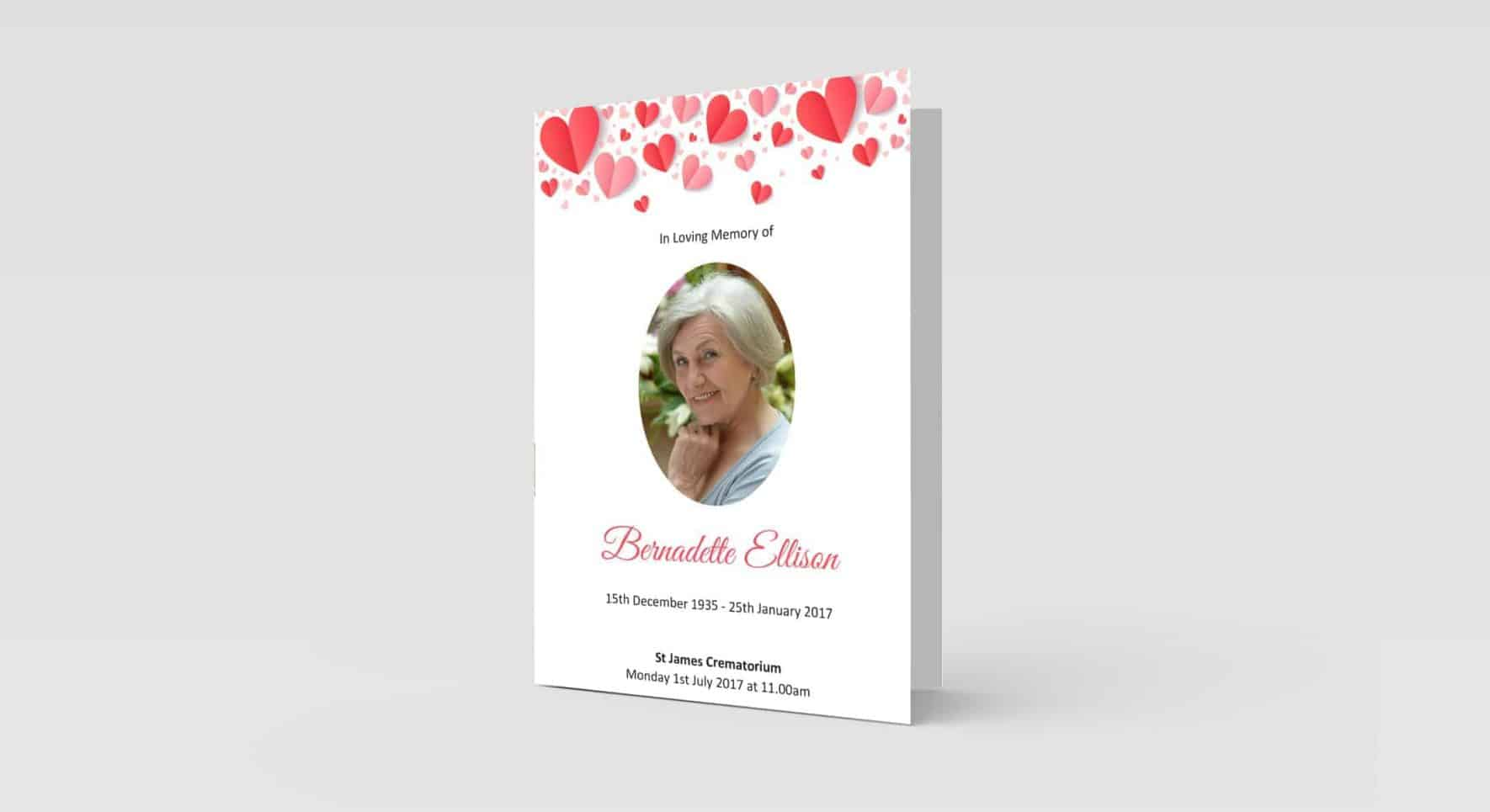 funeral order of service Bunched Hearts