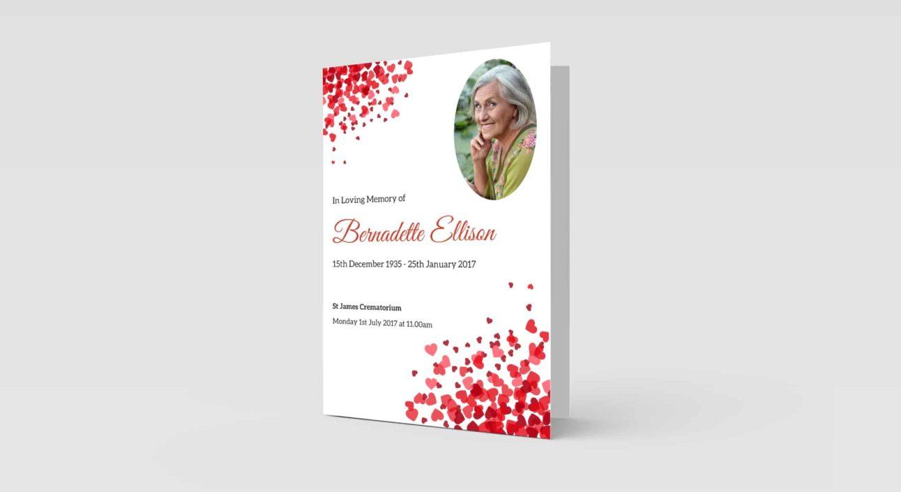 funeral order of service Scattered_Hearts design