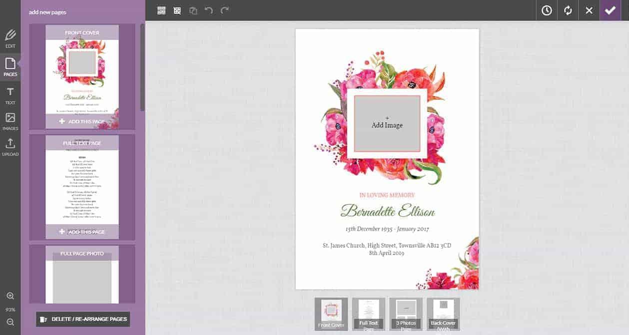 funeral online design editor