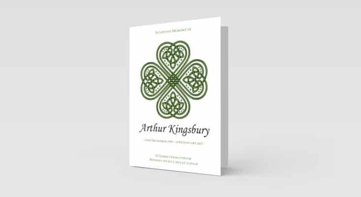 Celtic Clover funeral order of service