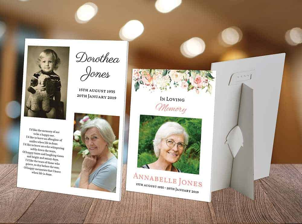 hand crafted funeral photo cards