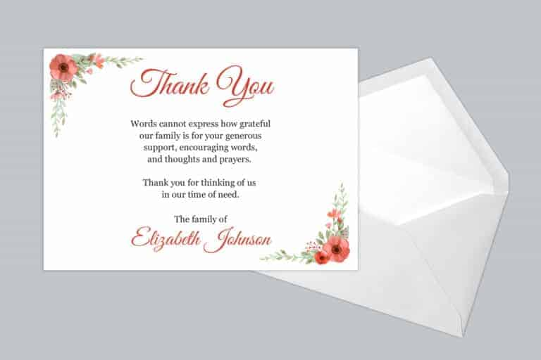 Funeral Thank You Card Style 12